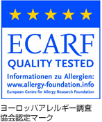 ECARF QUALITY TESTED Informationen zu Allergien:www.allergy-foundation.info ヨーロッパアレルギー調査協会認定マーク